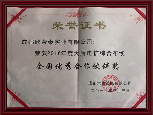 2016年度大唐电信综合布线全国优秀合作伙伴奖